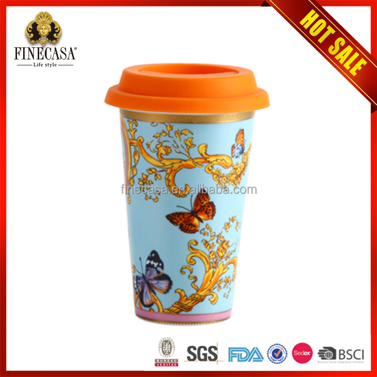 Color Glaze ceramic mug silicone lid and sleeve
