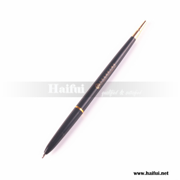 Black color plastic ballpoint pen with logo