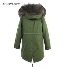 Cheap Price Raccoon Fur Hooded Womens Coat Winter Safety Parka