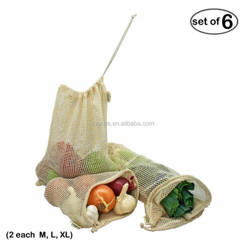 small cheap cotton perforated reusable vegetables mesh bag