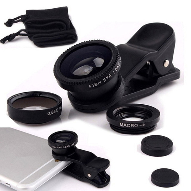 Universale 3 in 1 fisheye grandangolare cell phone camera lens kit per iphone