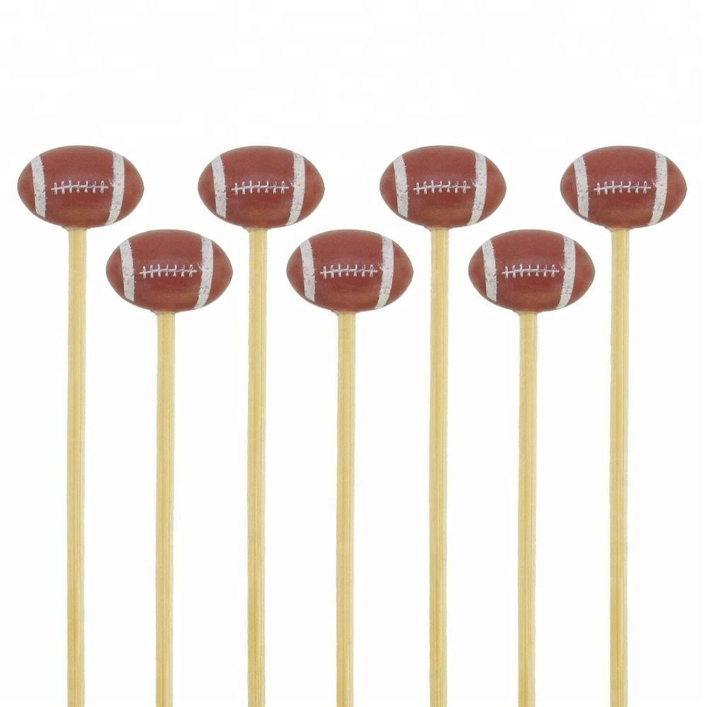 5.3 ''Decoratieve Sport Ball End Bamboe Cocktail Fruit Sandwich Picks-Voetbal 100 stks/pak