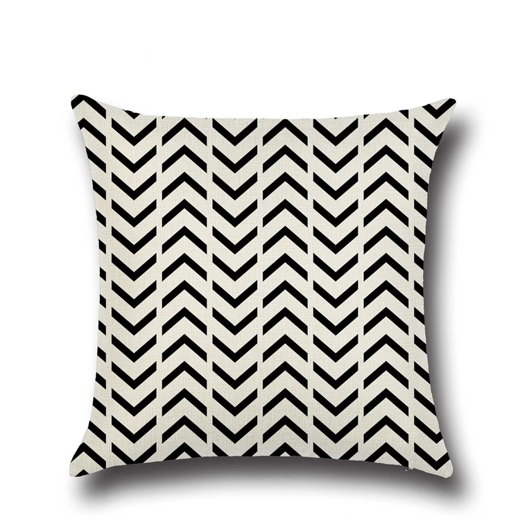 Black And White Irregular Geometry Arrow Wave Dot Graphical Square Flax Pillow Case