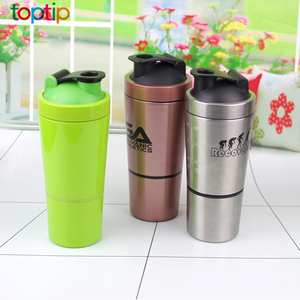 Stainless Steel Shaker with Built-In Mixing Lid & Mixer Ball,Premium Shaker Bottle with Twist Storage Compartment Cup