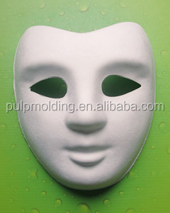 Masquerade mask white painted mask DIY craft fox paper pulp face mask