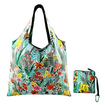 Customized Reusable Grocery Nylon Tote Bags with Zipper Closure And Zippered Pocket