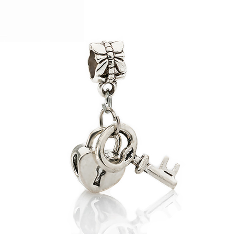e4444dd49 ... france free shipping 1pc silver bead charm european silver with love  lock key charm pendant bead