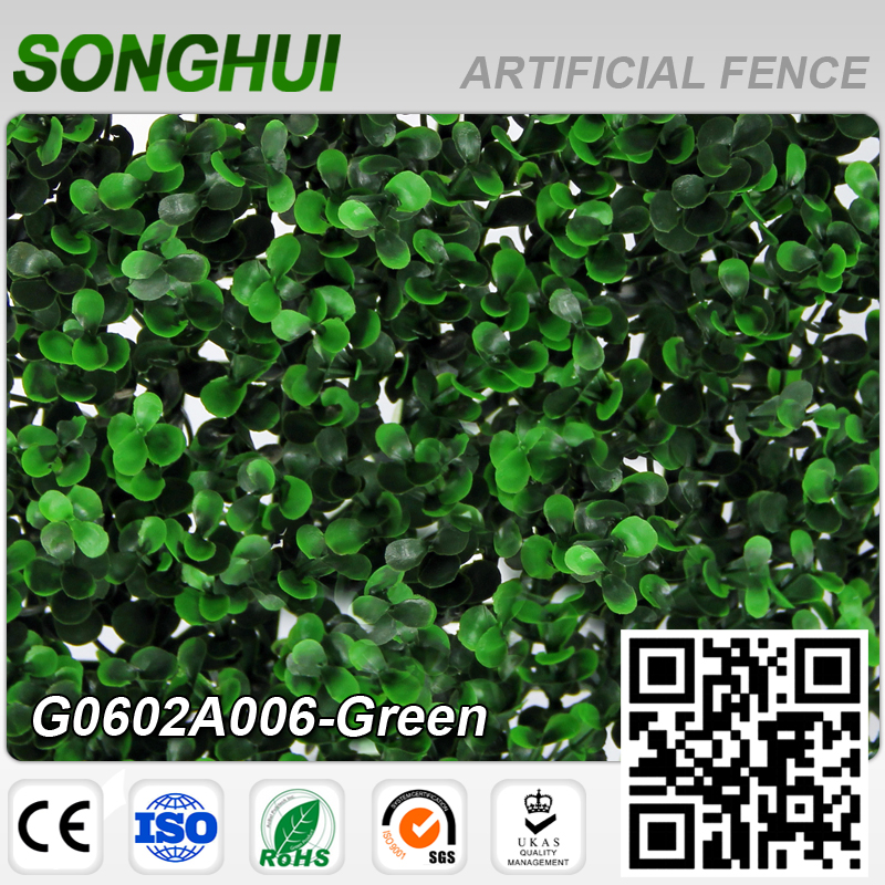 hot sale pvc coated garden plastic artificial green leaf fence