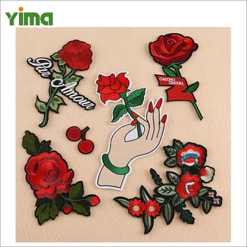 Butterfly flower rose embroidery patch