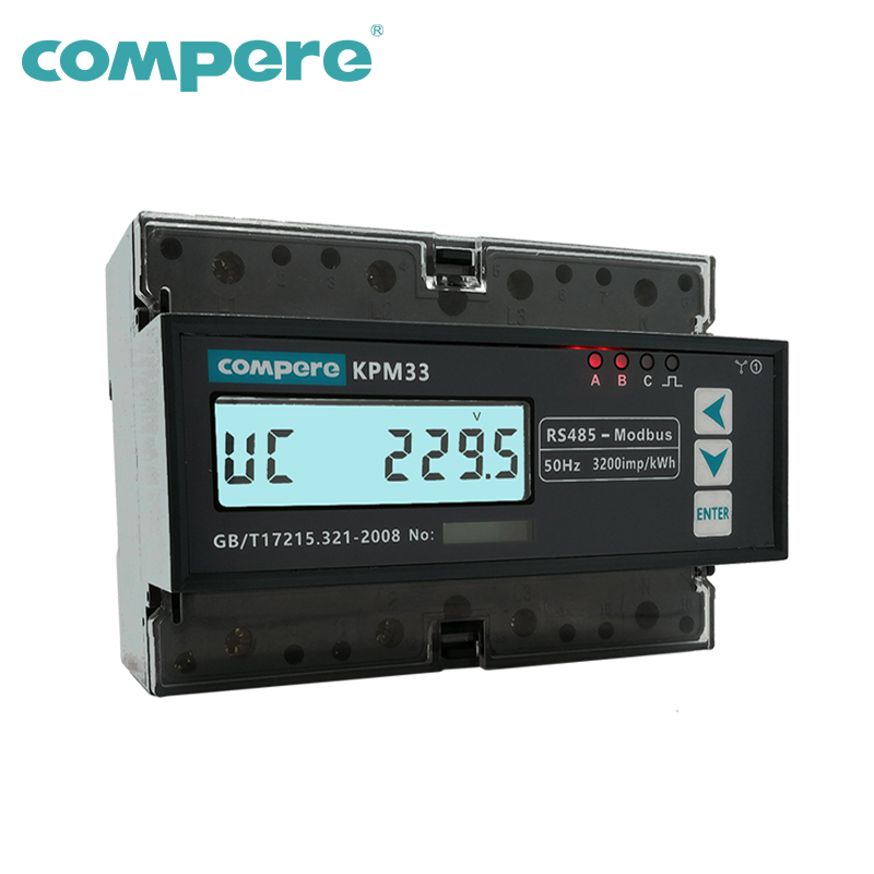 Bi-directional Three phase DIN rail smart energy power monitor meter electrical power counter