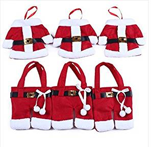6pcs Merry Sweet Christmas Decoration Santa Silverware Holders Pockets Dinner Table Decor Storage Candy Diet Tools Christmas