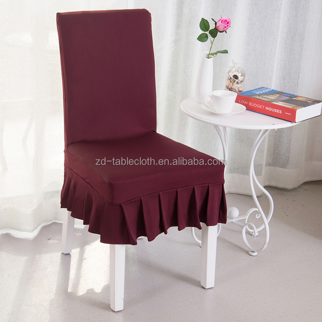 Square Back Burgundy Spandex Skirt Chair Cover For Dining Room