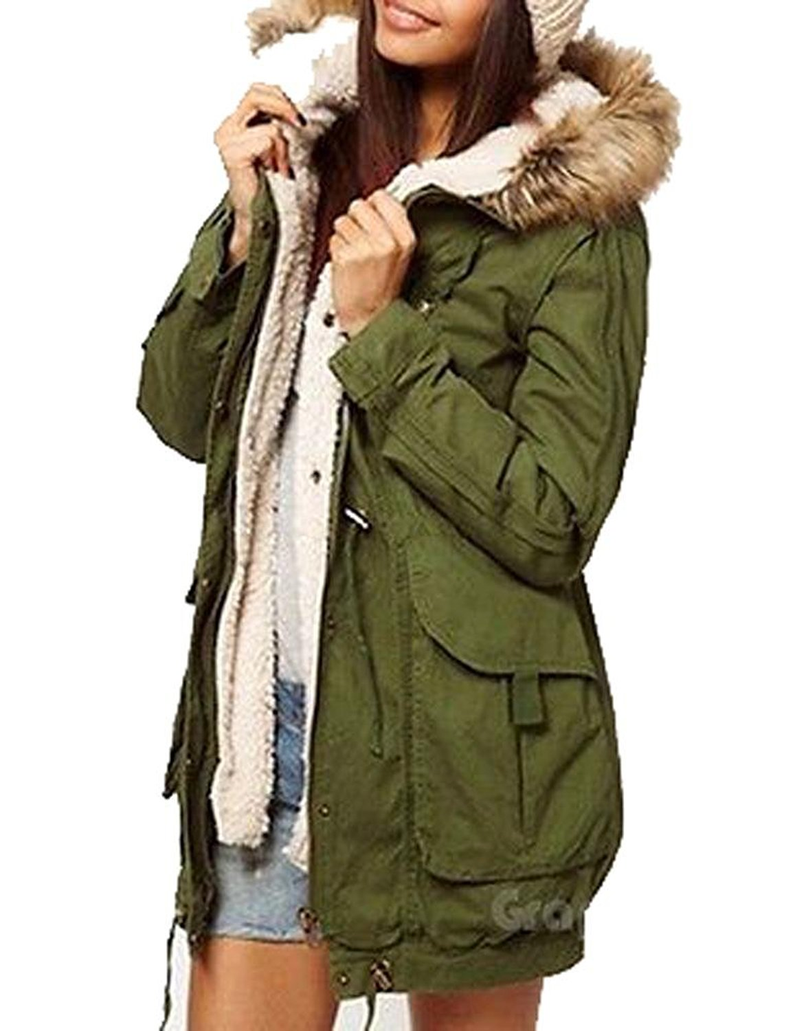 Get Quotations · Army Olive Green Womens Thicken Fleece Jacket Winter Warm  Coat Hooded Parka 3674 3edcabc82129