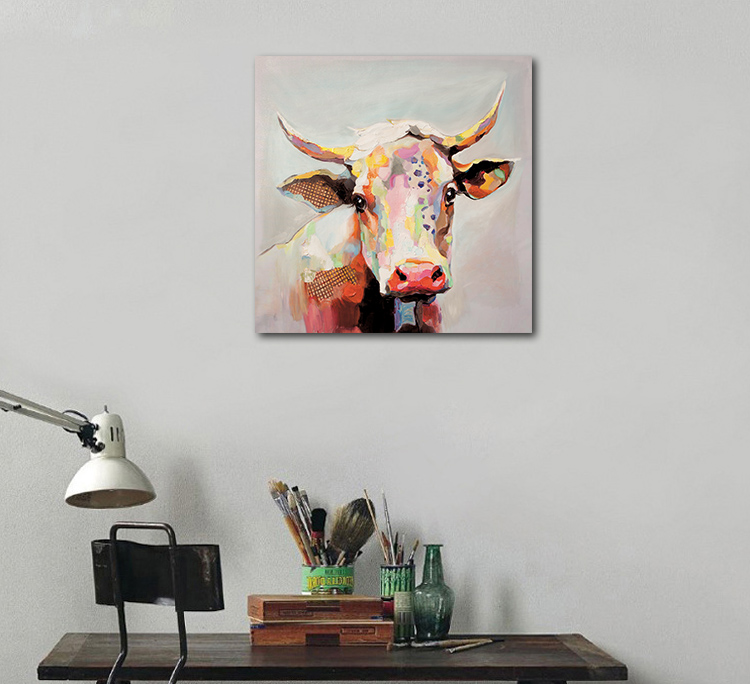 Factory Direct Sale Painted waterproof inkjet decorative Handmade  Painted Canvas  Cow Paintings