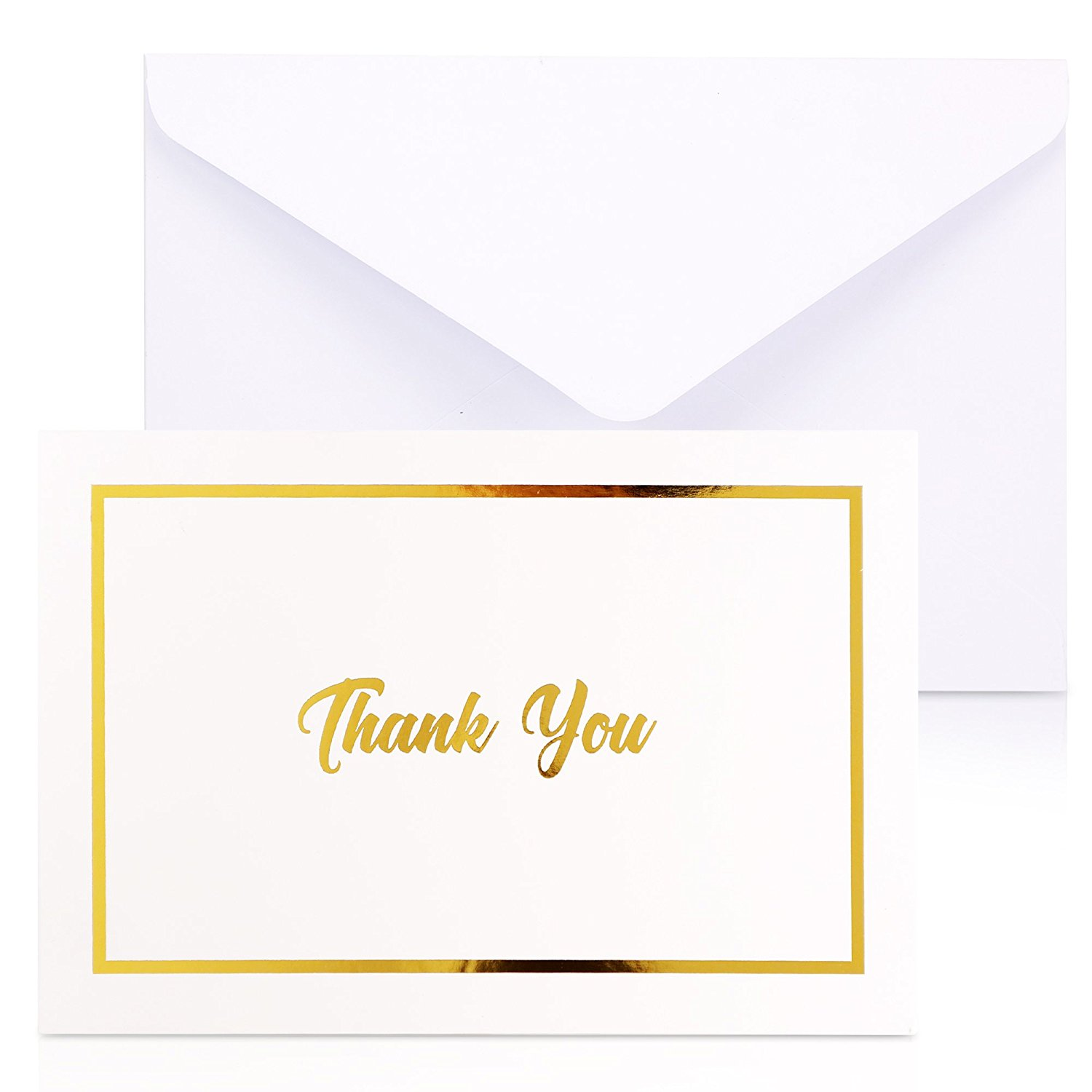 Get Quotations Thank You Cards With Envelopes 100 Pack White Gold Foil Embossed