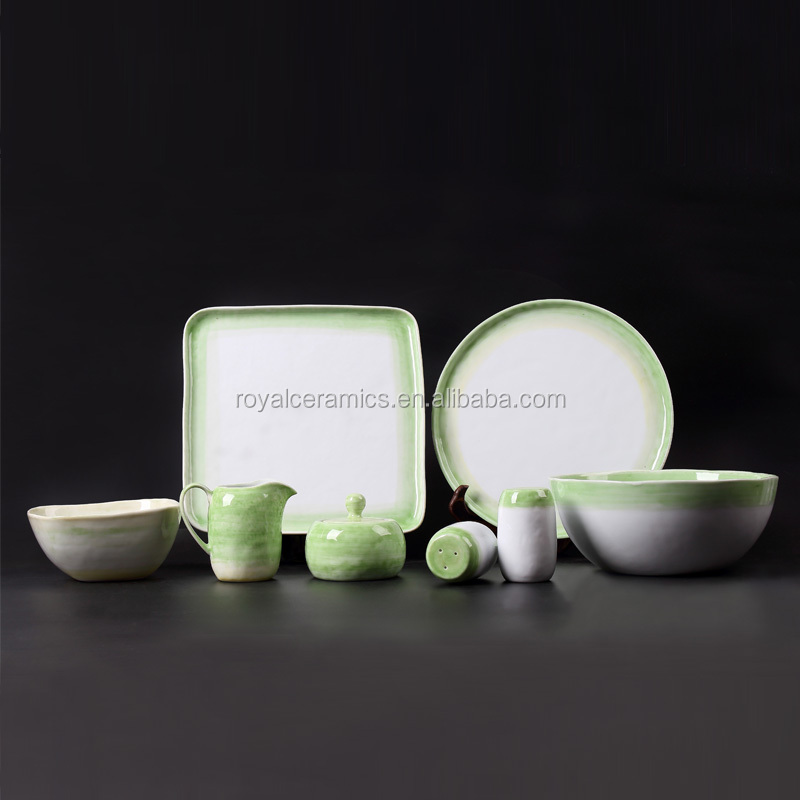 most popular green handbrush painting flat bottom white porcelain dinnerset
