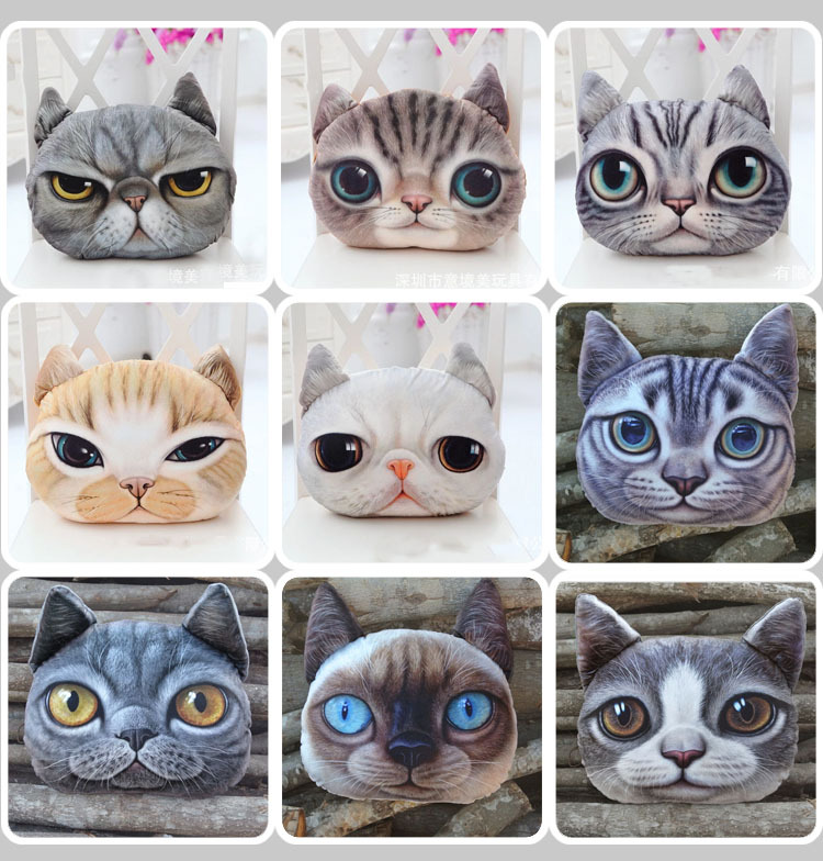 2017 new design high quality animal head pillow vivid car seat 3D cat dog cushion with filling .