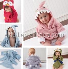 Baby Cartoon Animal Dressing Gown Splash Wrap Kids Bath Hooded Towel