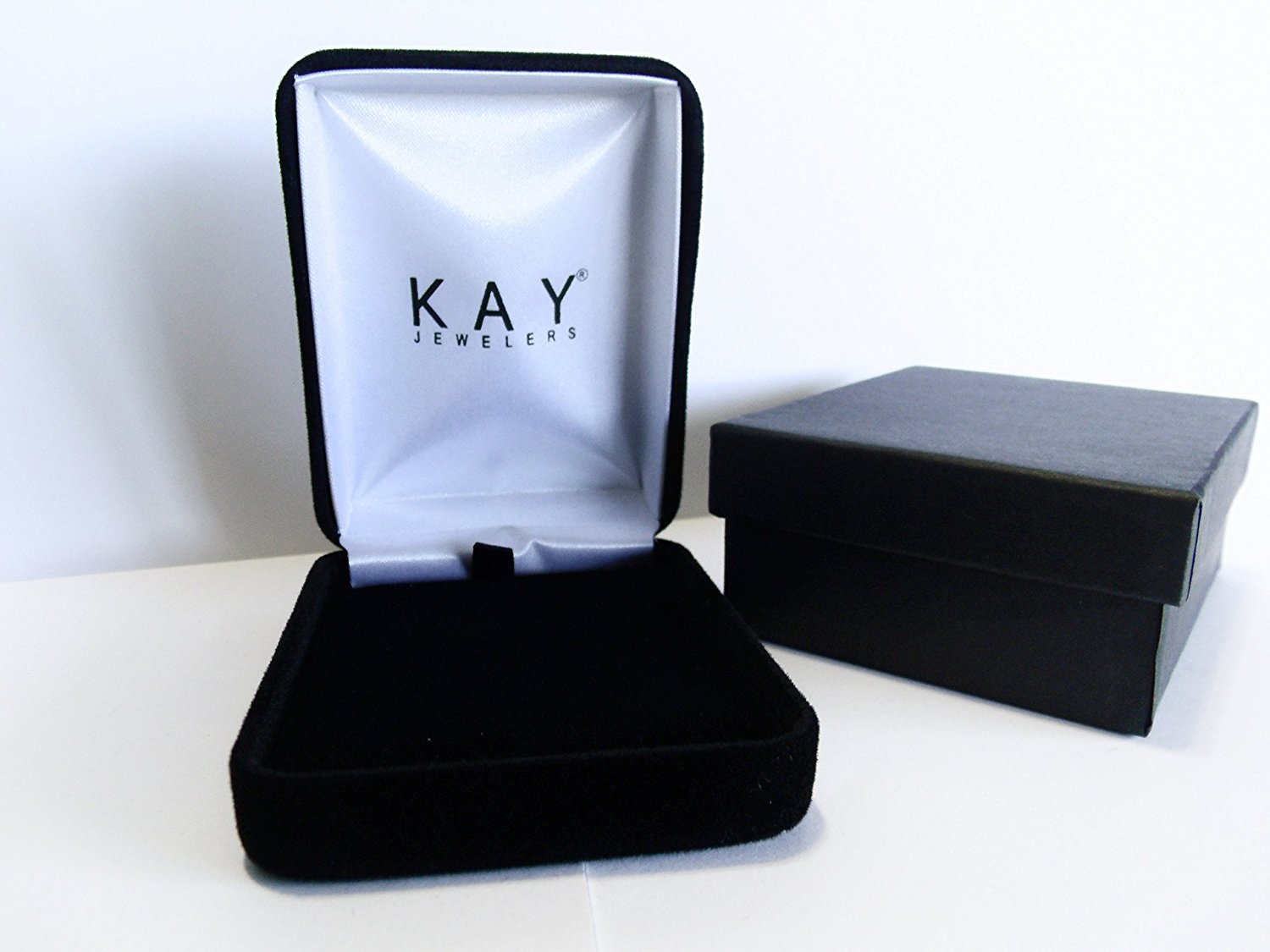 Kay Jewelers Empty Black Velvet Necklace Jewelry Box with Outer Matte Box
