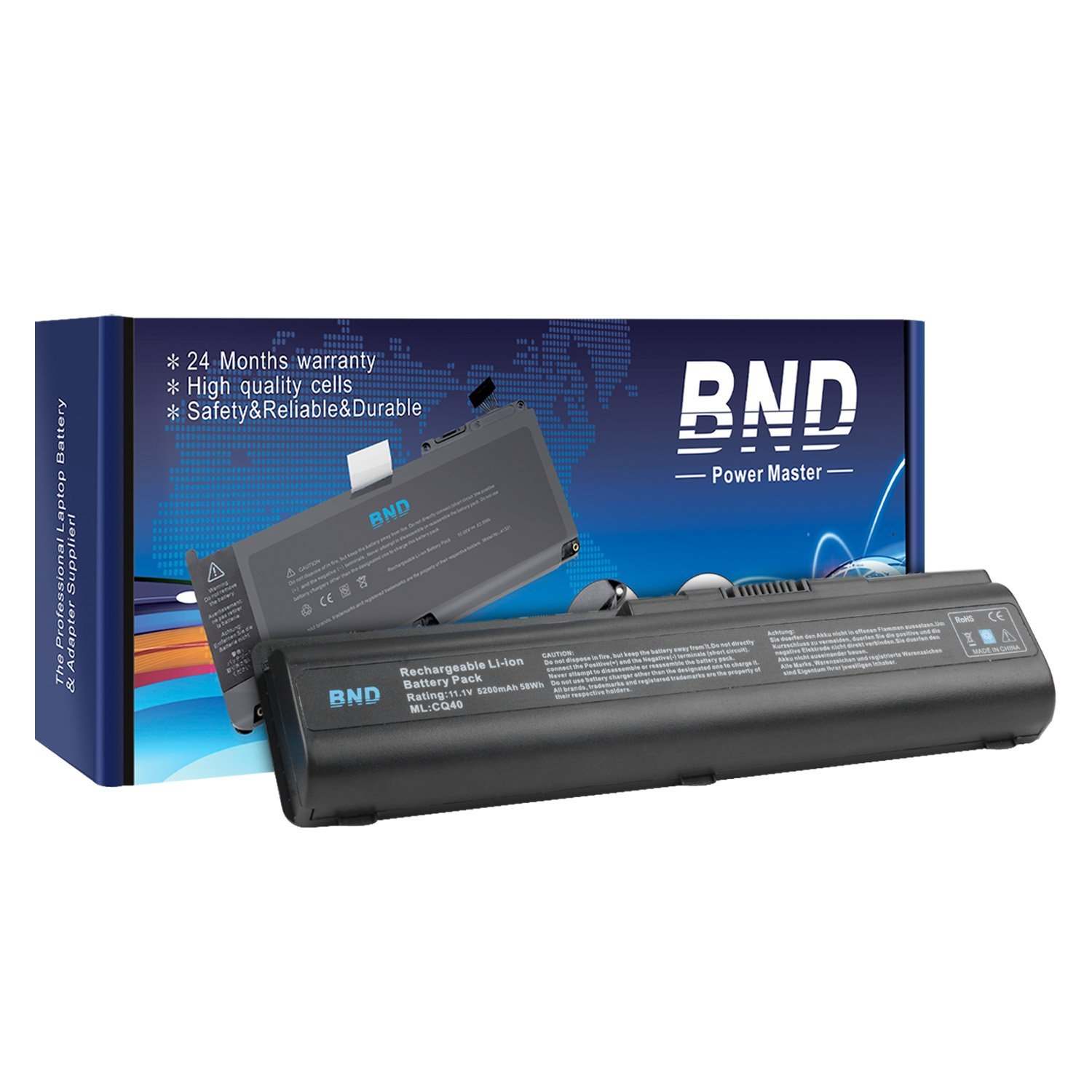 BND Laptop Battery [with Samsung Cells] for HP Pavilion DV4-1000 DV4-2000 DV5-1000 DV6-1000 DV6-2000 CQ50 CQ60 CQ70 G50 G60 G60T G61 G70 G71, fits P/N 484170-001 EV06 KS524AA KS526AA HSTNN-IB72