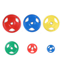 50mm hole Three Handle colorful Rubber Barbell Plate