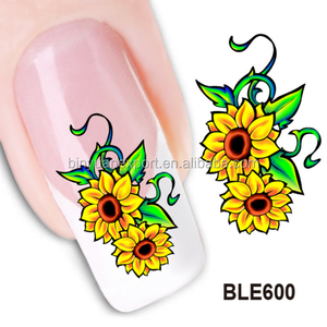 BIN Wholesale BLE 2D water transfer flower printing nail sticker