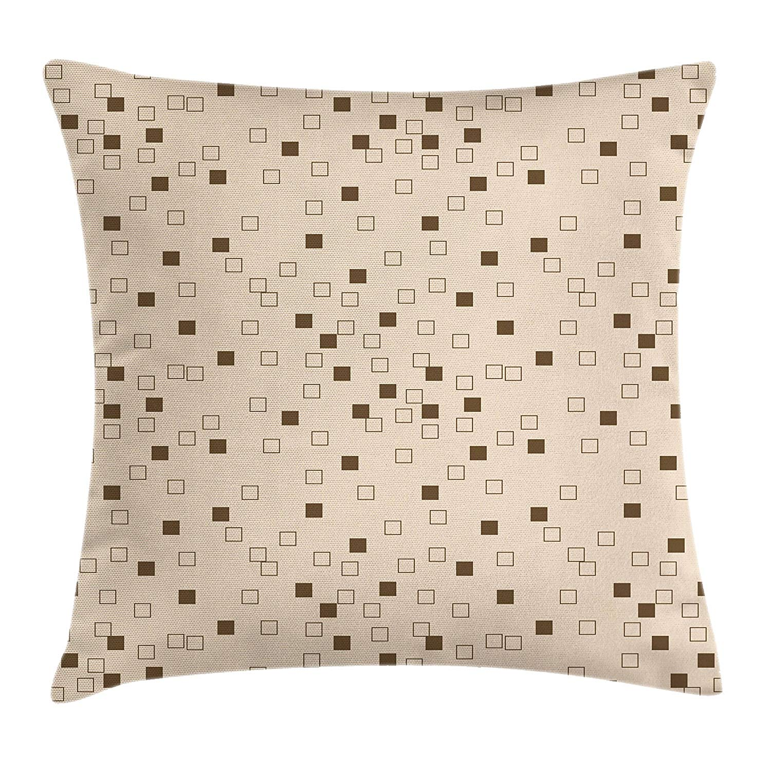 Lunarable Modern Throw Pillow Cushion Cover, Geometrical Composition with Squares Abstract Rhombus Ornamental Artistic Pattern, Decorative Square Accent Pillow Case, 28 X 28 Inches, Beige Brown