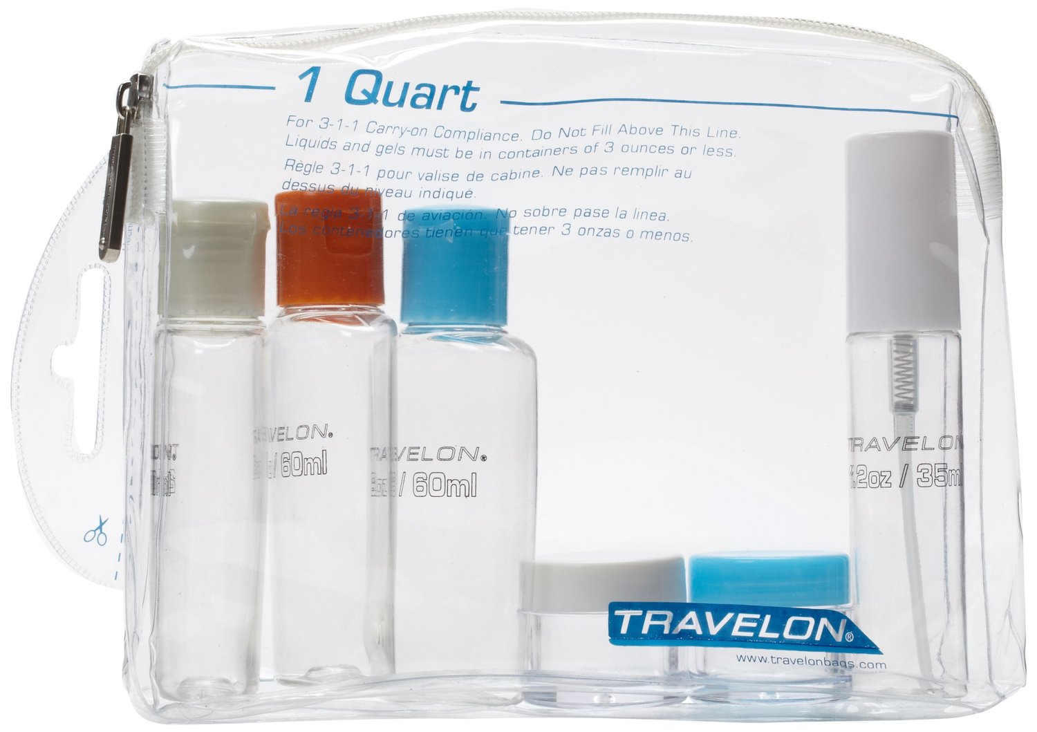 Travelon 1 Quart Zip Top Bag With Bottles Clear One Size