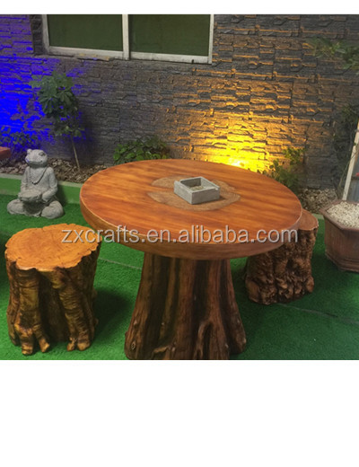 Resin stone round wood color Patio Furniture Garden Outdoor Dining Coffee Table Set with Wood Chair