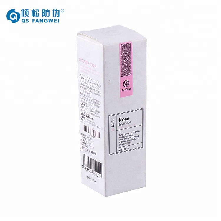 High security fashion design rose essential oil qr code paper box, custom packaging boxes