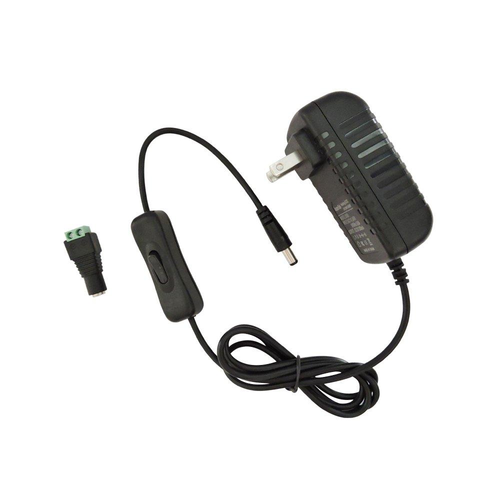 AspenTek Led Power Supply Adapter with Inline on off Switch for 12V 3528 Led Light Strip(8.2ft maxlength) or 5630 5050 Led Strip Light(3.28ft Maxlength),110v AC Input to DC 12v/1000mA,12 Watt Max