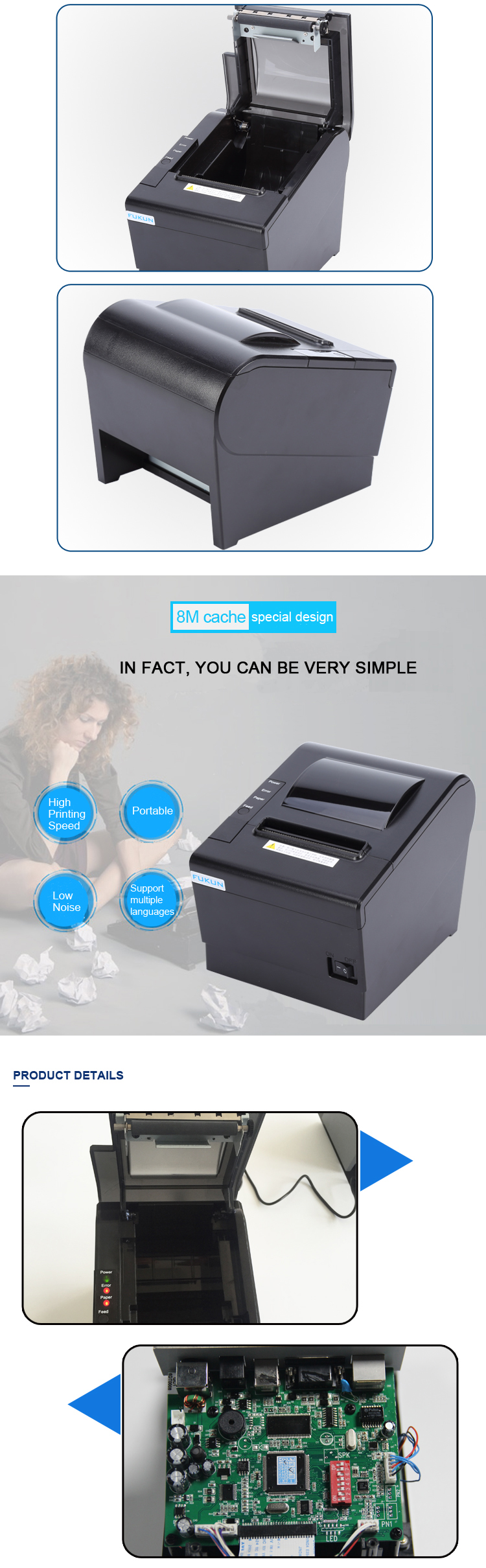 80mm auto cutter Thermal Receipt Printer Support Logo Printing