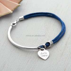 2016 New Bridesmaid Personalised Silk And Stainless Steel Bangle