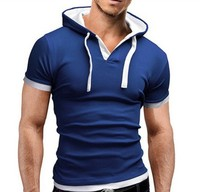 Two-tone cotton polo hooded elastic pullover short sleeve hoodie men