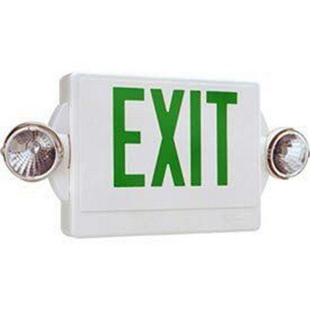 Lithonia Lighting LHQM S W 3 G Quantum 2-Light LED Polycarbonate Emergency Exit Sign/Fixture Unit Combo