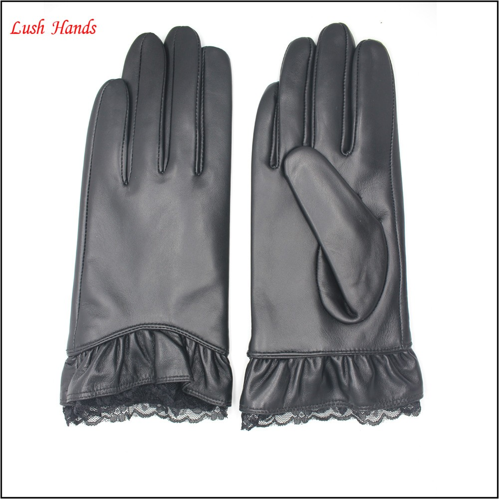 ladies leather gloves with lace cuff