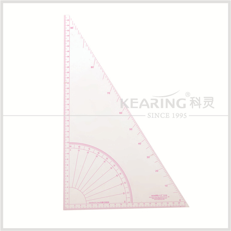 Kearing durable plastic triangle quilting ruler for patchwork sew area / 30 & 60 degree set square # T036