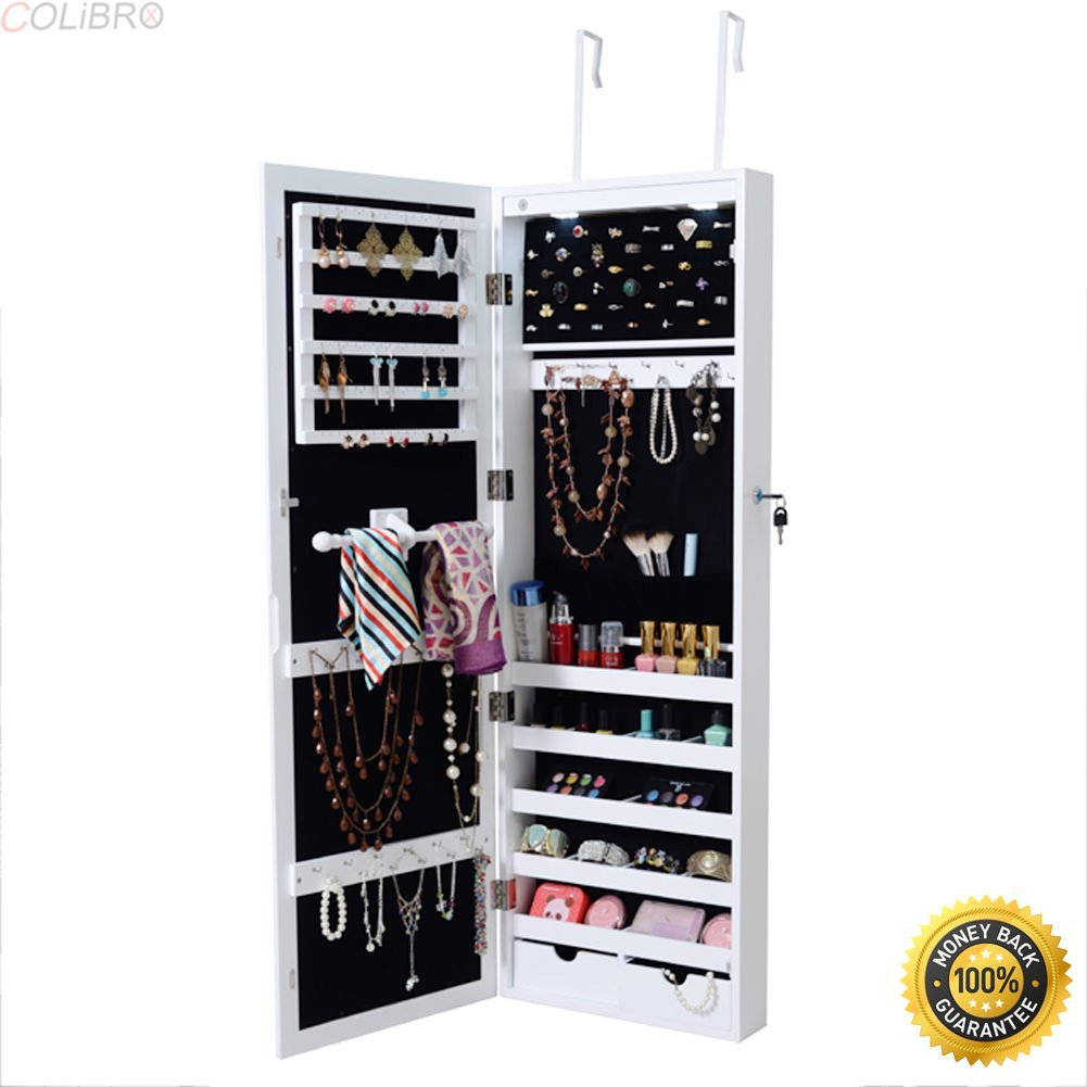 COLIBROX--Lockable Wall Mount Mirrored Jewelry Cabinet Organizer Armoire w/Light Christmas,locking jewelry armoire,locking jewelry armoire floor standing,jewelry box for necklaces,jewelry gift box