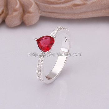2a96c2a860 Simple Design Sterling Silver Red Cubic Zircon Heart Shape Rings For Girls