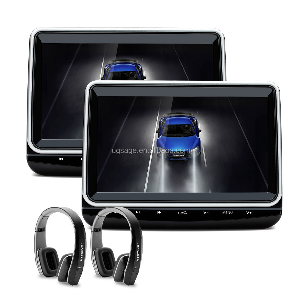 "XTRONS HD102HD 1024*600 10"" car headrest monitor with headphones, rear seat entertainment system"