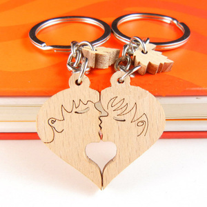 Customized Couples Keyrings Wooden Keyring Key Chain Fob Name Tags Gift Keychains