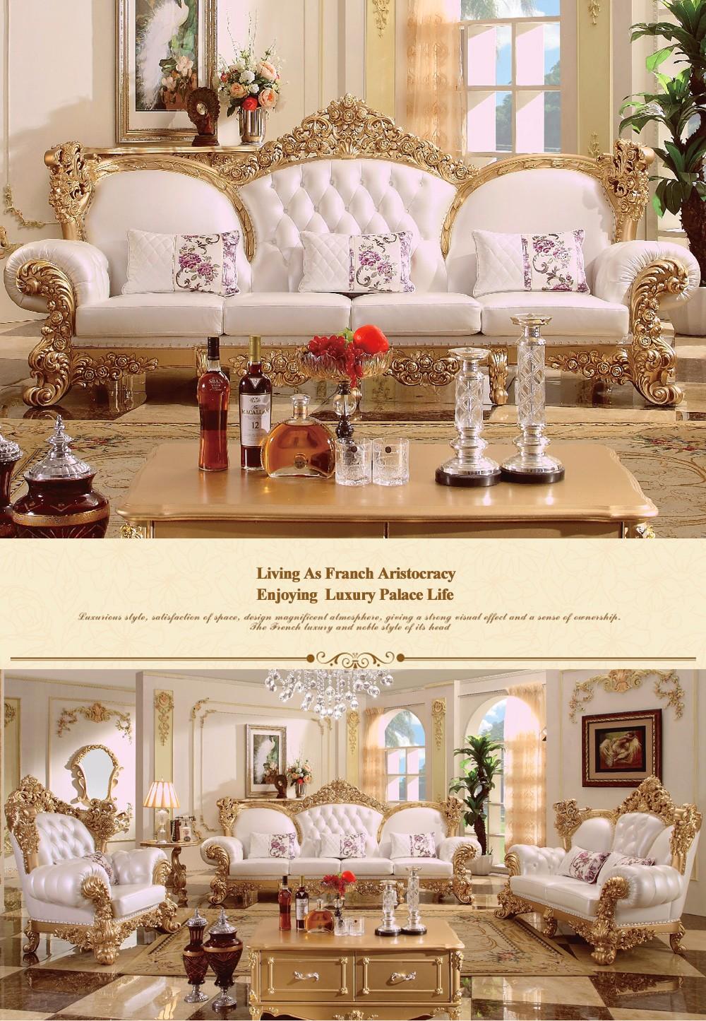 Fs888 European Baroque Living Room Furniture Sofa Set Modern Corner Leather Sofa Italian