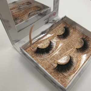 Korean Eyelashes 3d False Mink Eye Lashes Rose Gold 2 Pair Custom Eyelash Packaging Box With Mirror