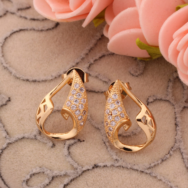 Whole China Fake Gold Plated Crystal Cz Stud Earrings