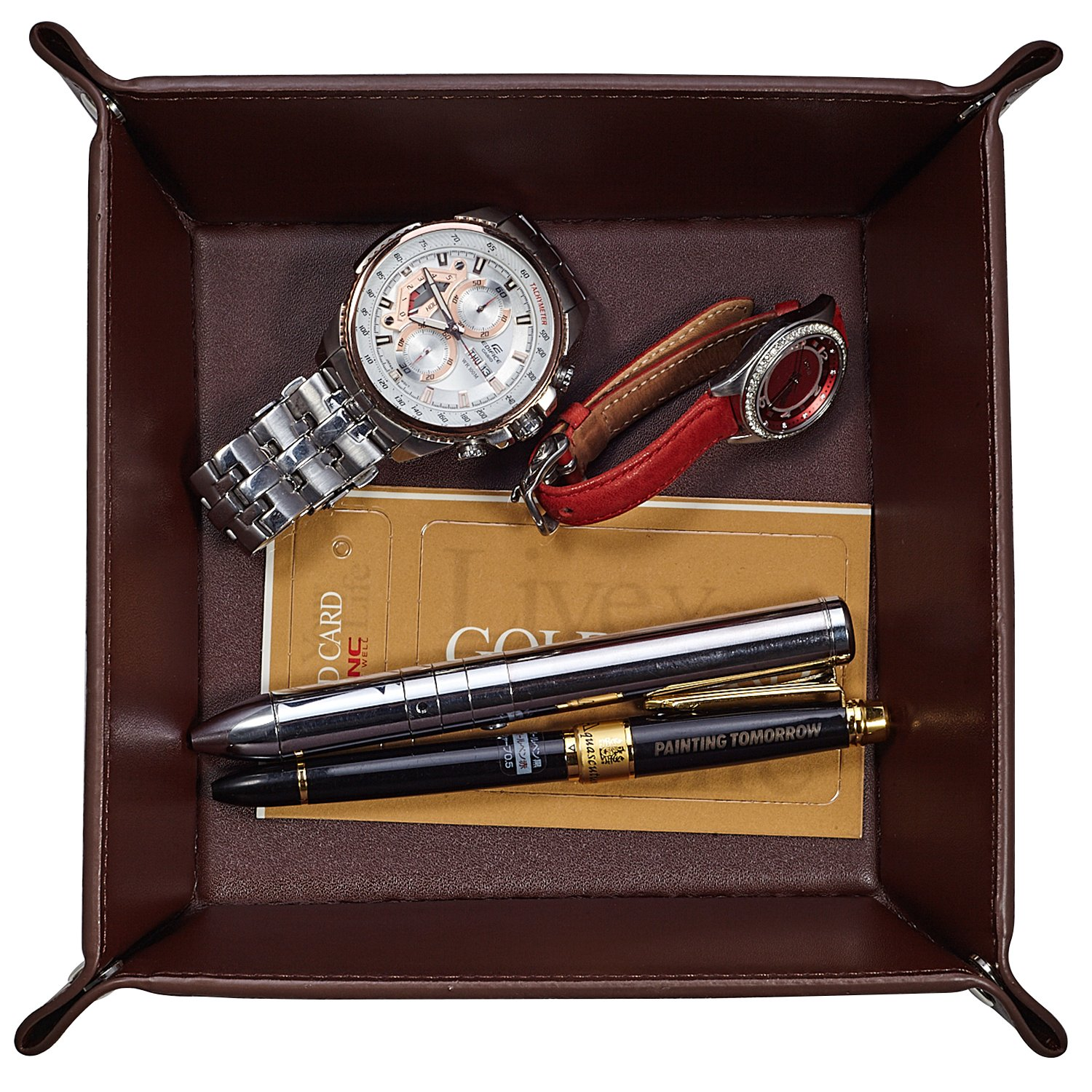 Oarie Jewelry Tray Valet Pu Leather Catchall For Men Key Wallet Coin Box