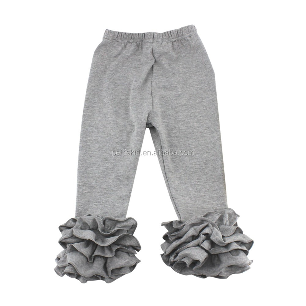 New Arrival Baby Girls Ruffle Plain Icing Legging Children Grey Cotton Pants