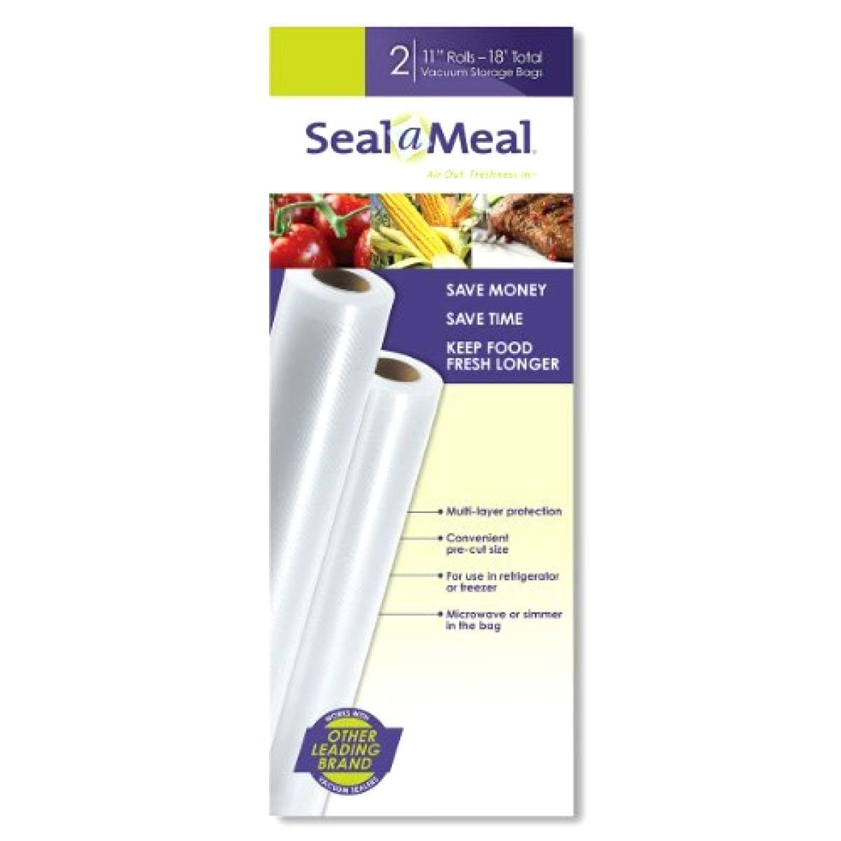 Food Bags Vacuum Food Sealer Seal-A-Meal 11-Inch by 9-Foot Rolls, 2pk