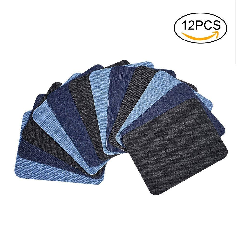 """Denim Iron On Patches, niceEshop(TM) 12pcs 3 Colors Denim Cotton Iron-on Patches, DIY Patches Cool Decorations Repair Kit for for Jeans,Clothing,Jackets(Black, Dark Blue, Light Blue; 4.92""""X3.74"""")"""