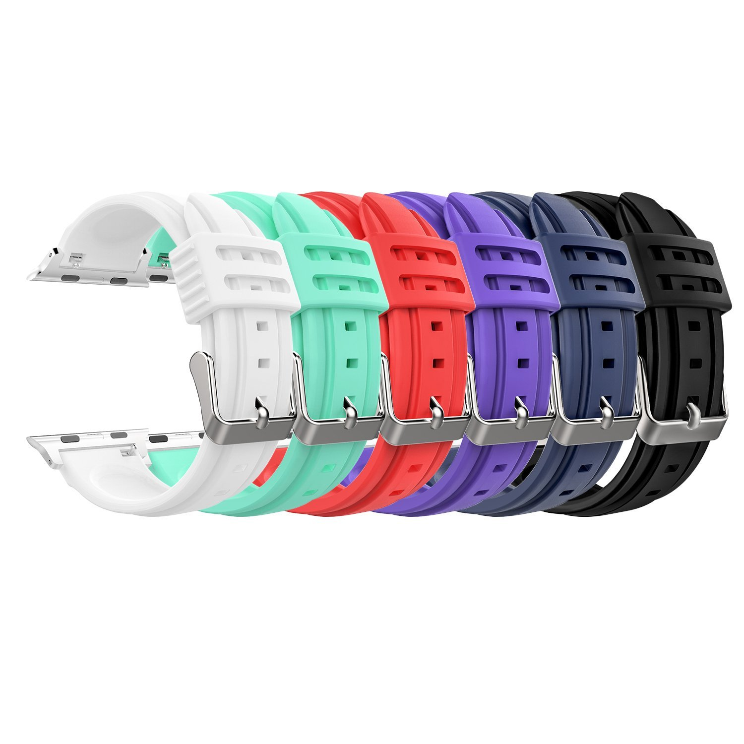 MoKo Apple Watch Band Series 1 Series 2, [6 PACK] Soft Silicone Replacement Sports Band + Watch Lugs for Apple Watch 38mm 2015 Series 1 & 2016 Series 2 All Models, Multi Colors (Not fit 42mm Versions)