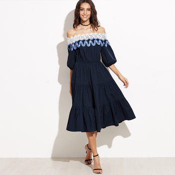 2017 Navy Lace Trim Off The Shoulder Tiered Women Fashion Lady Dresses With Picture